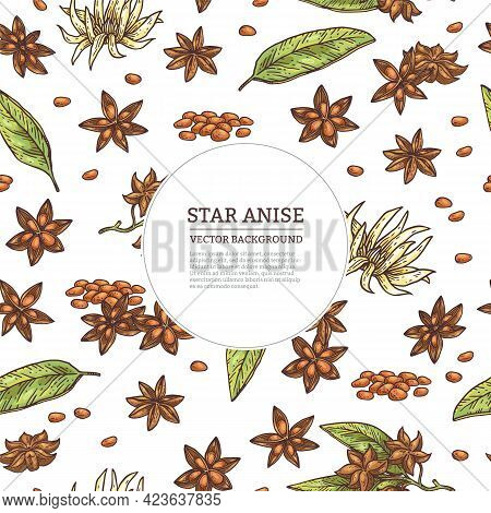 Background With Anise And Frame For Text, Engraved Vector Illustration.