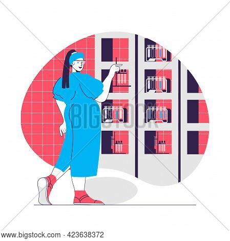 Chemical Laboratory Web Concept. Researcher In Lab With Test Tubes. Scientific Research People Scene