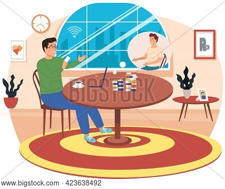 Video Conference Illustration For Learning. E-learning, Meeting Online, Communication With Friend, W