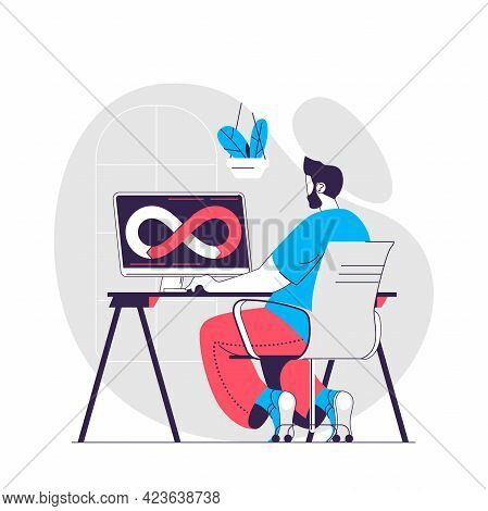 Devops Web Concept. Programmer Or Developer Working On Computer. Development Operations People Scene