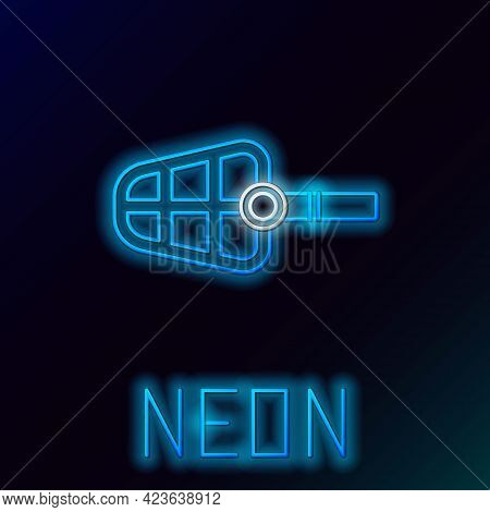 Glowing Neon Line Dog Muzzle Icon Isolated On Black Background. Colorful Outline Concept. Vector