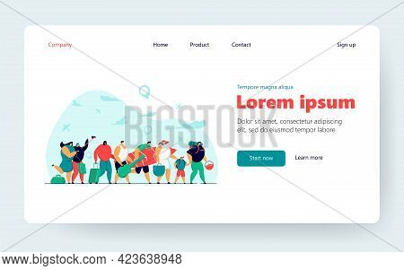 Tourist Group In Airport Queue With Baggage Flat Vector Illustration. Cartoon Happy Travelers Walkin
