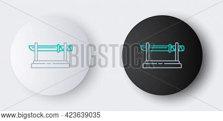 Line Traditional Japanese Katana On A Wooden Stand Icon Isolated On Grey Background. Japanese Sword.