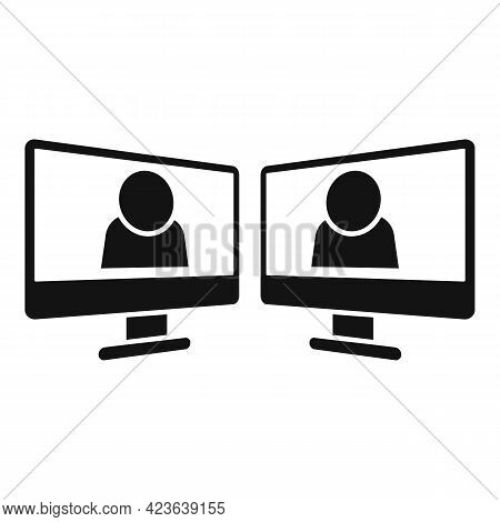 Online Meeting Icon. Simple Illustration Of Online Meeting Vector Icon For Web Design Isolated On Wh