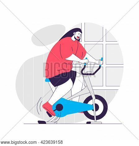 Fitness Web Concept. Woman Exercising On Stationary Bike, Workout At Gym. Sport Exercising People Sc