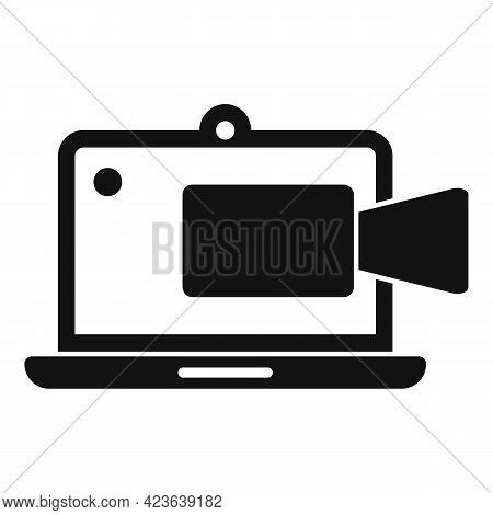Laptop Online Meeting Icon. Simple Illustration Of Laptop Online Meeting Vector Icon For Web Design