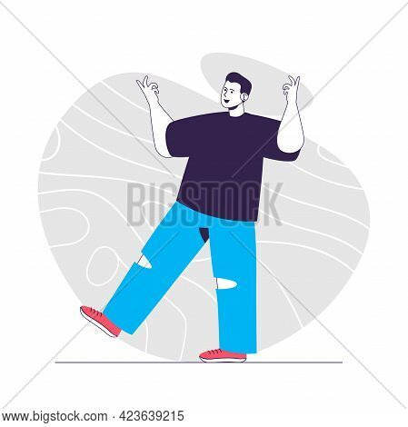 Gladness Emotion Web Concept. Smiling Man Gesturing Joyful. Expressing Positive Feelings People Scen