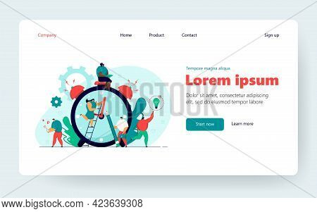 Tiny Multitasking People And Countdown Of Alarm Clock Isolated Flat Vector Illustration. Cartoon Cha