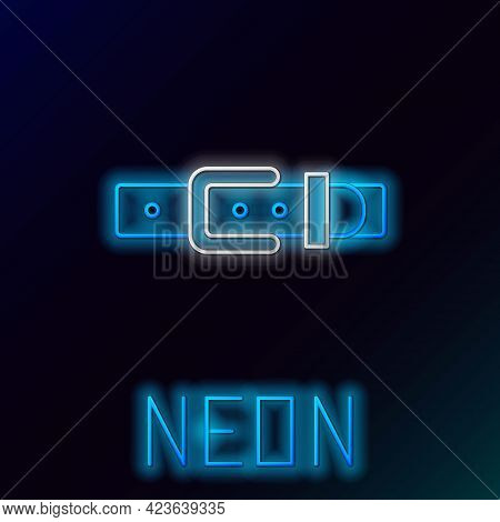 Glowing Neon Line Leather Belt With Buttoned Steel Buckle Icon Isolated On Black Background. Colorfu