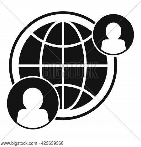 Global Online Meeting Icon. Simple Illustration Of Global Online Meeting Vector Icon For Web Design