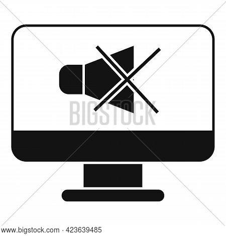 No Sound Online Meeting Icon. Simple Illustration Of No Sound Online Meeting Vector Icon For Web Des