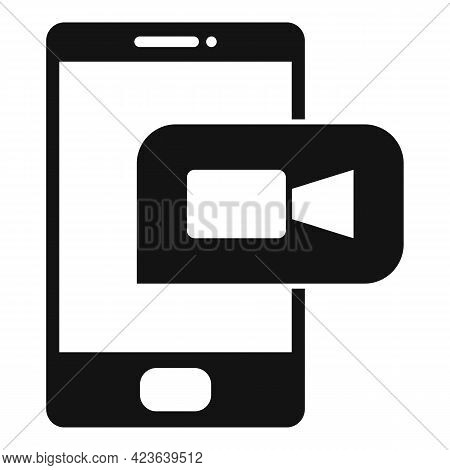Phone Online Meeting Icon. Simple Illustration Of Phone Online Meeting Vector Icon For Web Design Is