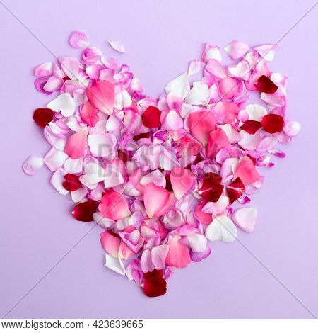 Heart is maked of rose petals on light purple background. Seasonal flowers natural love wallpaper