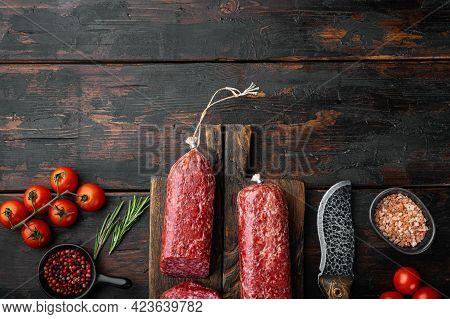 Salami, Salami Smoked Sausage, Sliced Set, On Old Dark  Wooden Table Background, Top View Flat Lay,