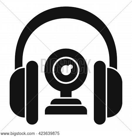 Headphones Camera Online Meeting Icon. Simple Illustration Of Headphones Camera Online Meeting Vecto