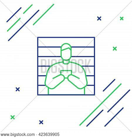 Line Suspect Criminal Icon Isolated On White Background. The Criminal In Prison, Suspected Near The