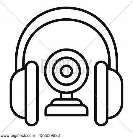 Headphones Camera Online Meeting Icon. Outline Headphones Camera Online Meeting Vector Icon For Web