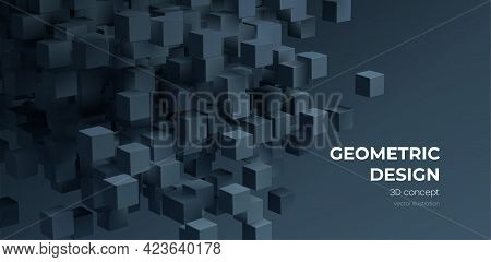 Modern Digital Geometric Cube Abstract Background. Stylish Realistic Poster With Black 3d Cube Backg