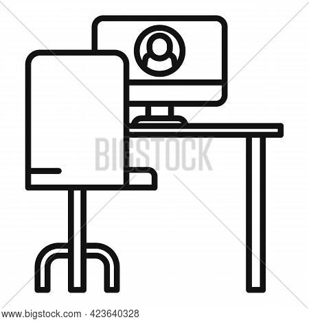Place Online Meeting Icon. Outline Place Online Meeting Vector Icon For Web Design Isolated On White