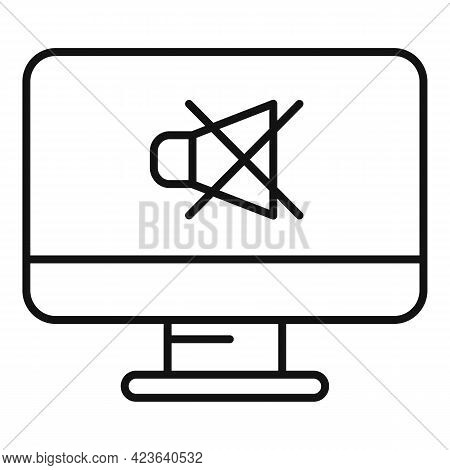 No Sound Online Meeting Icon. Outline No Sound Online Meeting Vector Icon For Web Design Isolated On