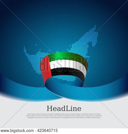 United Arab Emirates Flag With Wavy Ribbon On A Blue White Background. Background With Flag Of Uae,