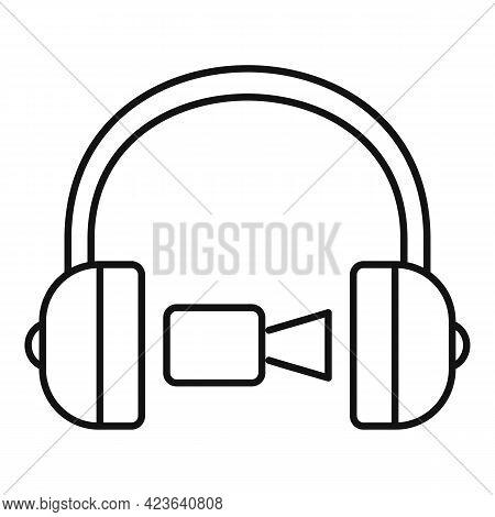 Headphones Online Meeting Icon. Outline Headphones Online Meeting Vector Icon For Web Design Isolate