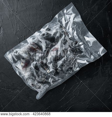 Frozen Mussels In Sash Set, On Black Background, Top View Flat Lay