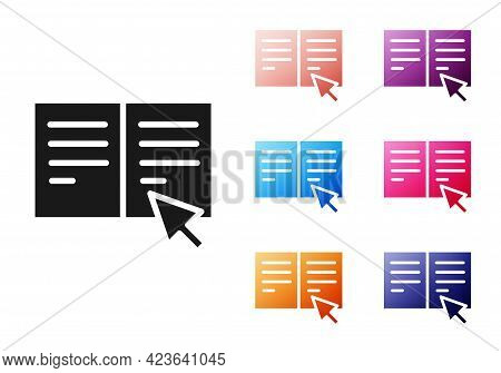 Black Online Book Icon Isolated On White Background. Internet Education Concept, E-learning Resource