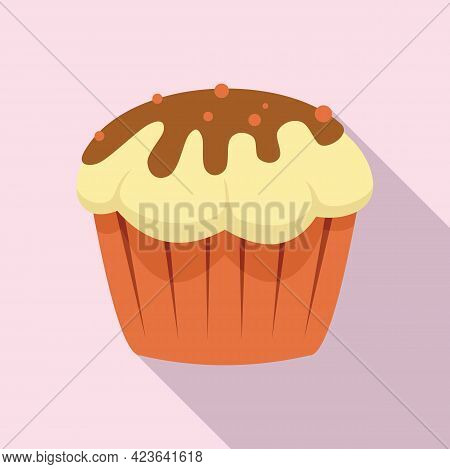 Cupcake Icon. Flat Illustration Of Cupcake Vector Icon For Web Design