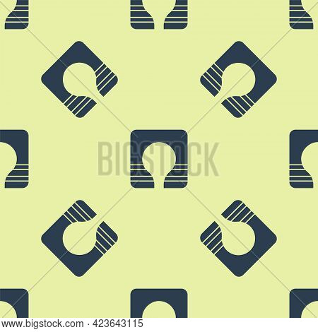 Blue Life Jacket Icon Isolated Seamless Pattern On Yellow Background. Life Vest Icon. Extreme Sport.