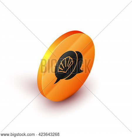 Isometric Scallop Sea Shell Icon Isolated On White Background. Seashell Sign. Orange Circle Button.