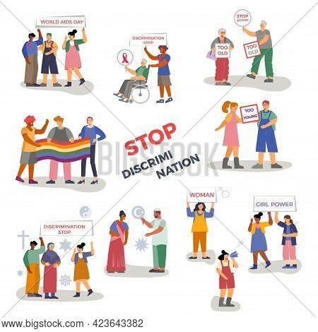 Discrimination Set With Flat Isolated Icons Human Characters Of Arguing People With Lgbt Activists A