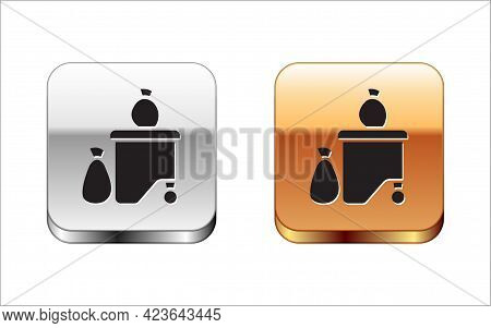Black Dumpsters Being Full With Garbage Icon Isolated On White Background. Garbage Is Pile Lots Dump
