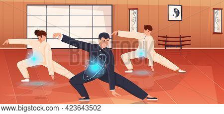 Qigong Energy Flat Composition With Instructor Training Two Young People In Gym Vector Illustration