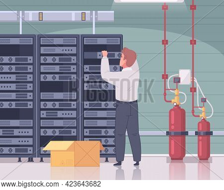 Datacenter Cartoon Composition With Male Technician Touching Server Racks With Indoor Interior And C