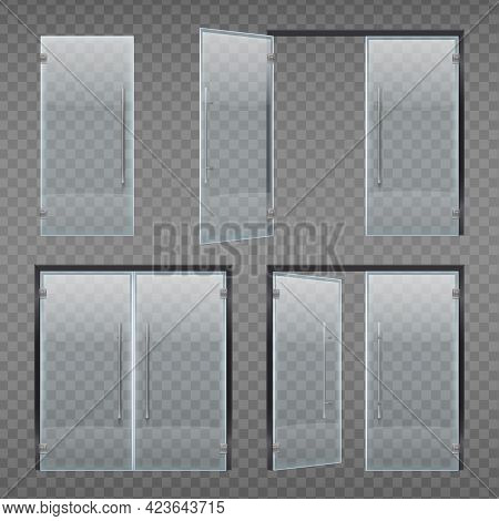 Glass Door Entrance Realistic Set Of Isolated Doors With Long Handle And Frame On Transparent Backgr