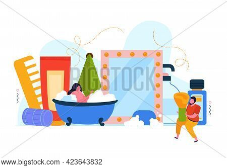 Bath Time Abstract Flat Composition With Female Character Takes Bath And Set Of Care Products Vector