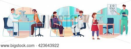 Different Stages Of Eye Examination In The Ophthalmologists Office Flat Vector Illustration
