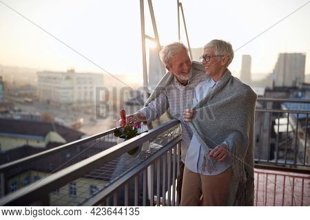 An elderly couple having fun while they enjoying on the terrace of their apartment at a beautiful sunset. Spouses, pensioners, together, home