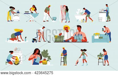 Clean Up Flat Icons Set With People Doing Housework Watering Plants Mopping Floor Cooking Dinner Was