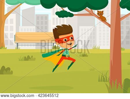 Kids Superheroes Cartoon Colored Concept The Boy In Superhero Costume Saves A Kitten From A Tree Vec