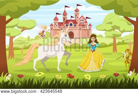Cartoon Fairy Tale Characters Composition The Princess Is Walking Through A Magical Forest With Her
