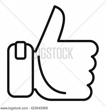 Bonus Thumb Up Icon. Outline Bonus Thumb Up Vector Icon For Web Design Isolated On White Background