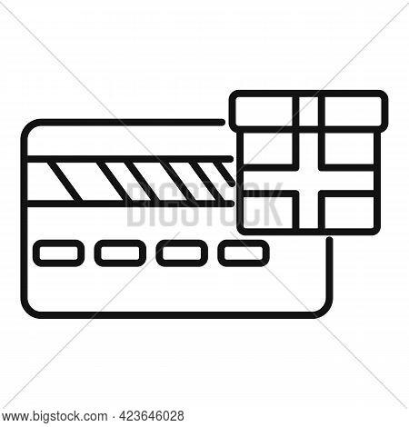 Bonus Credit Card Icon. Outline Bonus Credit Card Vector Icon For Web Design Isolated On White Backg
