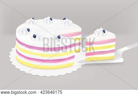 Delicious Whipped Cream Topped Layered Dessert Table Cake For Birthday Party Wedding Every Celebrati