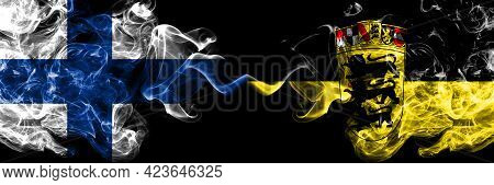 Finland, Finnish Vs Germany, German, Deutschland, Baden Wurttemberg Smoky Flags Side By Side.