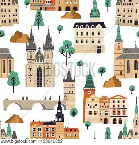 Seamless Pattern With Famous Czech Buildings On White Background. Endless Repeatable Texture With Pr
