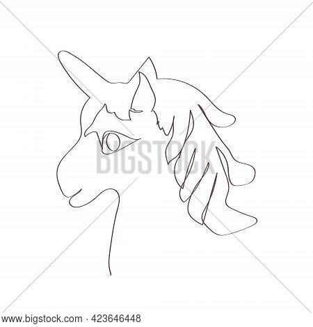 Unicorn Head In Lineart Style On White Background. The Concept Of Modern Art.