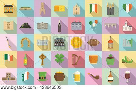 Ireland Icons Set. Flat Set Of Ireland Vector Icons For Web Design