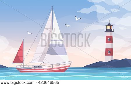 Yachting Cartoon Composition With View Of Water Bay And Sailing Small Yacht With Lighthouse On Shore